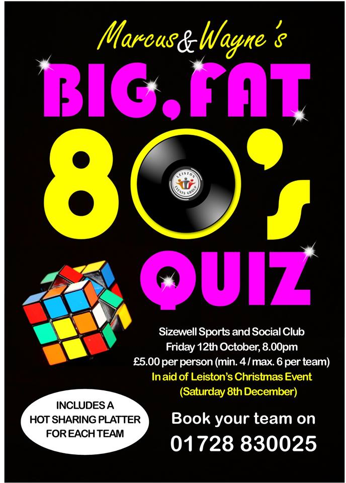 Marcus & Wayne's Big Fat 80s Quiz! 12th October 2018