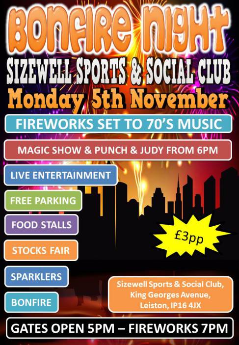 Bonfire Night Celebrations at Sizewell Social Club 2018