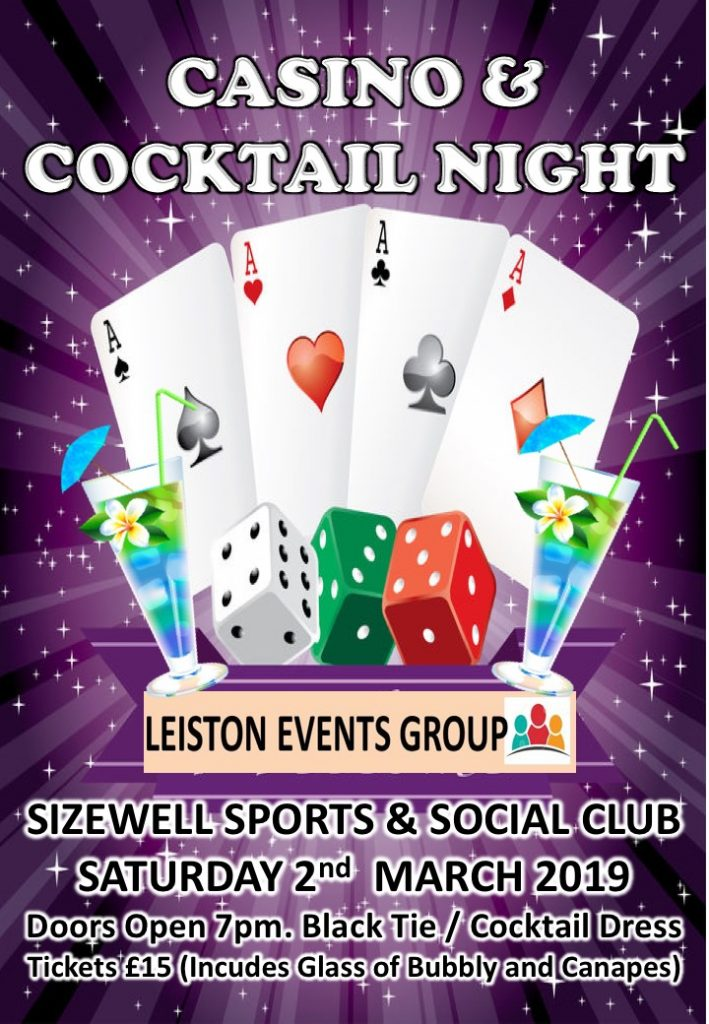 Casino & Cocktail Night 2nd March 2019