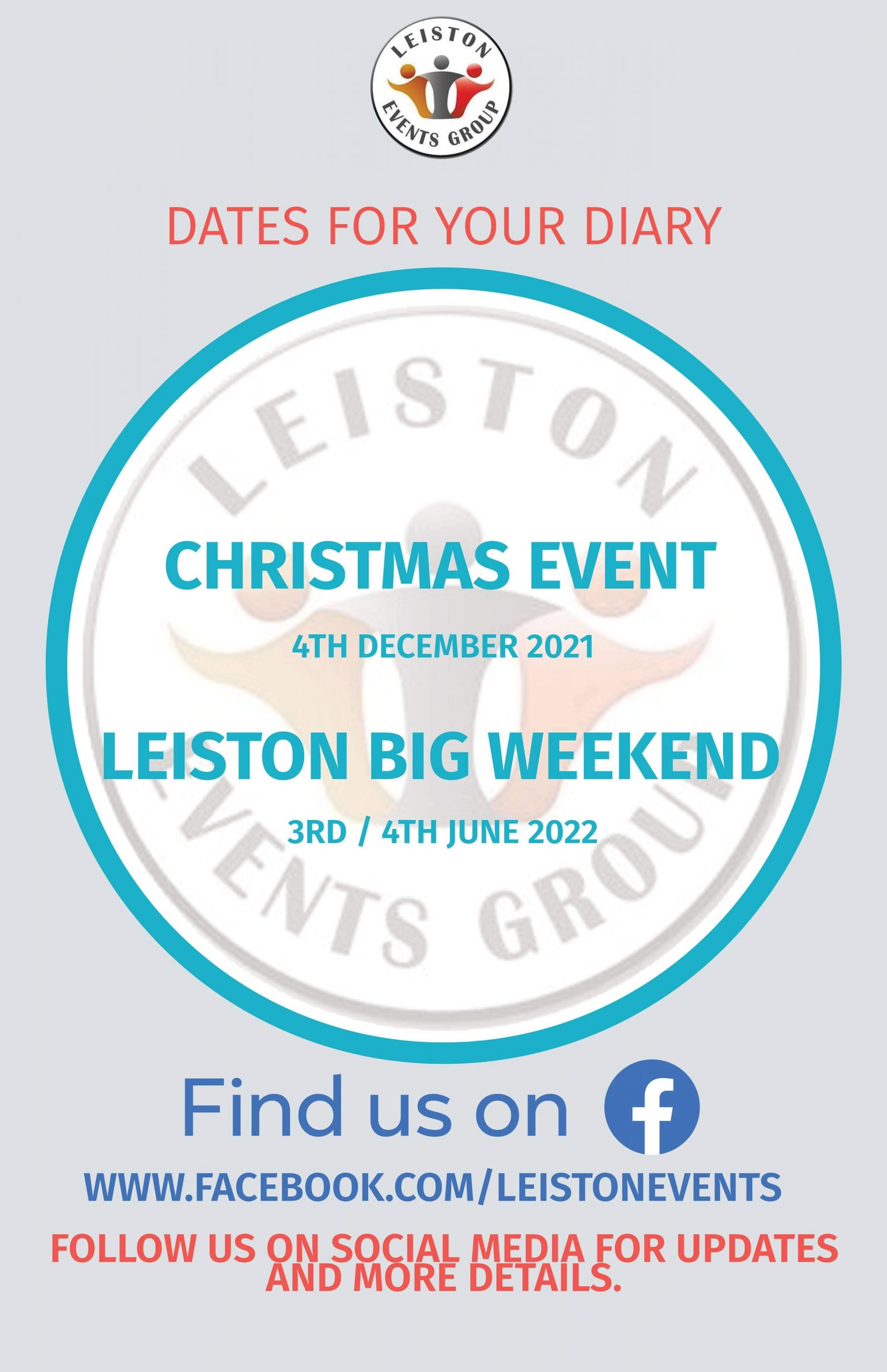 Leiston Events Christmas Event 4th December 2021 Leiston Big Weekend 3rd-4th June 2022